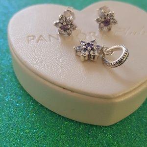 Pandora purple flowers earrings w pendant set